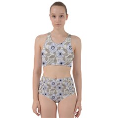 Flower Rose Sunflower Gray Star Racer Back Bikini Set