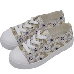 Flower Rose Sunflower Gray Star Kids  Low Top Canvas Sneakers by Mariart