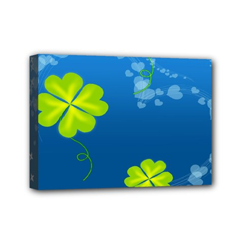 Flower Shamrock Green Blue Sexy Mini Canvas 7  X 5  by Mariart