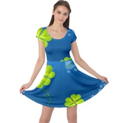 Flower Shamrock Green Blue Sexy Cap Sleeve Dress