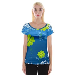 Flower Shamrock Green Blue Sexy Cap Sleeve Tops by Mariart