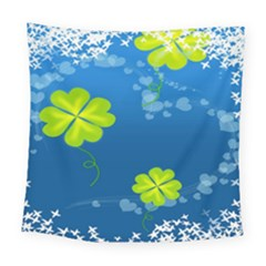 Flower Shamrock Green Blue Sexy Square Tapestry (large) by Mariart