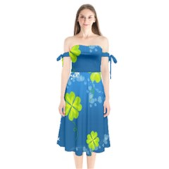 Flower Shamrock Green Blue Sexy Shoulder Tie Bardot Midi Dress