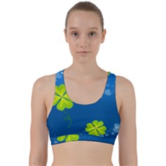 Flower Shamrock Green Blue Sexy Back Weave Sports Bra