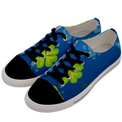 Flower Shamrock Green Blue Sexy Men s Low Top Canvas Sneakers by Mariart