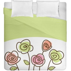 Flower Simple Green Rose Sunflower Sexy Duvet Cover Double Side (king Size) by Mariart