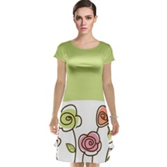 Flower Simple Green Rose Sunflower Sexy Cap Sleeve Nightdress