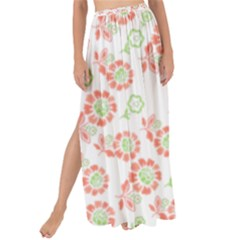 Flower Rose Red Green Sunflower Star Maxi Chiffon Tie Up Sarong by Mariart