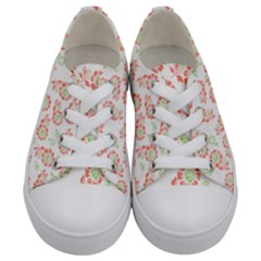 Flower Rose Red Green Sunflower Star Kids  Low Top Canvas Sneakers