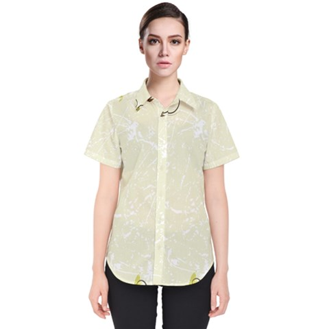 Flower Star Floral Green Camuflage Leaf Frame Women s Short Sleeve Shirt by Mariart
