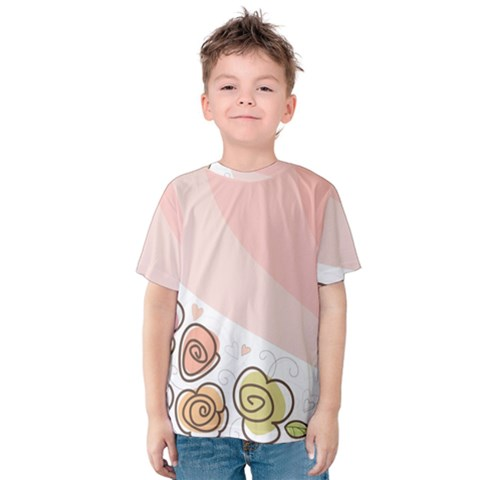 Flower Sunflower Wave Waves Pink Kids  Cotton Tee by Mariart