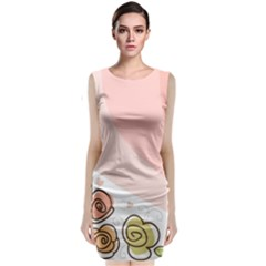 Flower Sunflower Wave Waves Pink Classic Sleeveless Midi Dress by Mariart