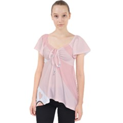 Flower Sunflower Wave Waves Pink Lace Front Dolly Top