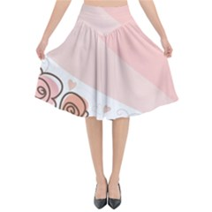 Flower Sunflower Wave Waves Pink Flared Midi Skirt by Mariart