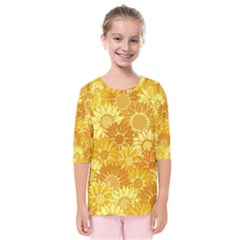 Flower Sunflower Floral Beauty Sexy Kids  Quarter Sleeve Raglan Tee
