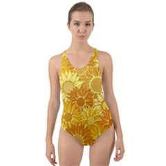 Flower Sunflower Floral Beauty Sexy Cut Out Back One Piece Swimsuit by Mariart