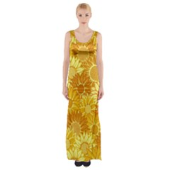 Flower Sunflower Floral Beauty Sexy Maxi Thigh Split Dress