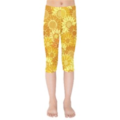 Flower Sunflower Floral Beauty Sexy Kids  Capri Leggings  by Mariart