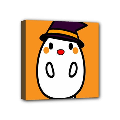 Halloween Ghost Orange Mini Canvas 4  X 4  by Mariart
