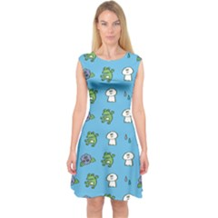 Frog Ghost Rain Flower Green Animals Capsleeve Midi Dress by Mariart
