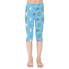 Frog Ghost Rain Flower Green Animals Kids  Capri Leggings  by Mariart