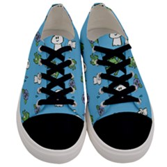 Frog Ghost Rain Flower Green Animals Men s Low Top Canvas Sneakers