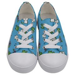 Frog Ghost Rain Flower Green Animals Kids  Low Top Canvas Sneakers