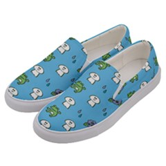 Frog Ghost Rain Flower Green Animals Men s Canvas Slip Ons by Mariart
