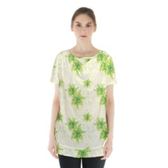 Leaf Green Star Beauty Skirt Hem Sports Top by Mariart