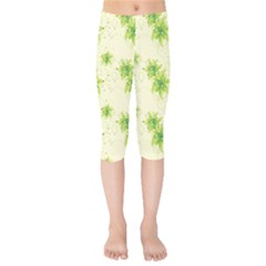 Leaf Green Star Beauty Kids  Capri Leggings  by Mariart