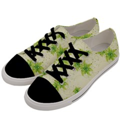 Leaf Green Star Beauty Men s Low Top Canvas Sneakers by Mariart