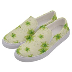 Leaf Green Star Beauty Men s Canvas Slip Ons by Mariart