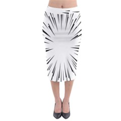 Line Black Sun Arrow Midi Pencil Skirt