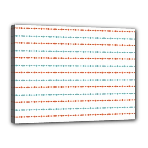 Line Polka Dots Blue Red Sexy Canvas 16  X 12