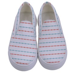 Line Polka Dots Blue Red Sexy Kids  Canvas Slip Ons