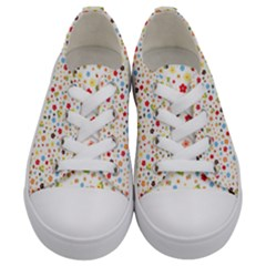 Flower Star Rose Sunflower Rainbow Smal Kids  Low Top Canvas Sneakers