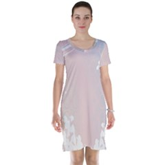 Love Heart Flower Purple Sexy Rose Short Sleeve Nightdress by Mariart