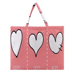 Love Heart Valentine Pink White Sexy Zipper Large Tote Bag by Mariart