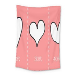 Love Heart Valentine Pink White Sexy Small Tapestry by Mariart