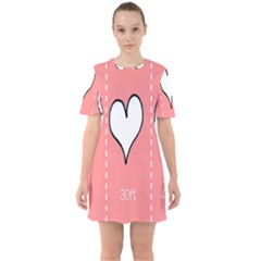Love Heart Valentine Pink White Sexy Sixties Short Sleeve Mini Dress by Mariart