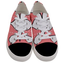 Love Heart Valentine Pink White Sexy Women s Low Top Canvas Sneakers