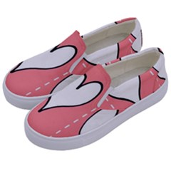Love Heart Valentine Pink White Sexy Kids  Canvas Slip Ons by Mariart