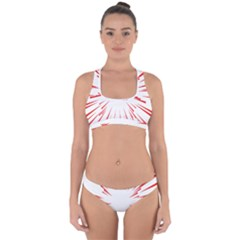 Line Red Sun Arrow Cross Back Hipster Bikini Set by Mariart