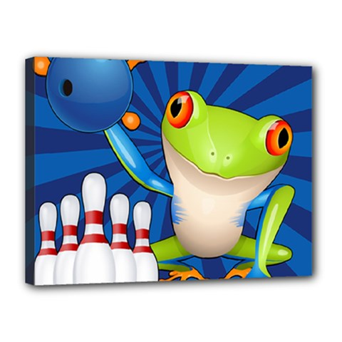 Tree Frog Bowling Canvas 16  X 12  by crcustomgifts