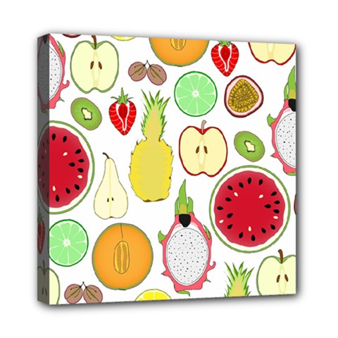 Mango Fruit Pieces Watermelon Dragon Passion Fruit Apple Strawberry Pineapple Melon Mini Canvas 8  X 8  by Mariart
