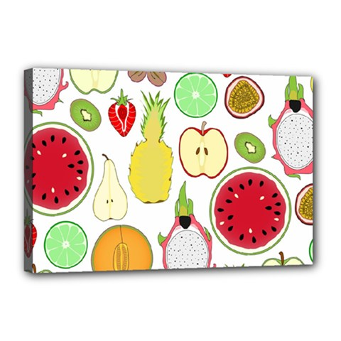 Mango Fruit Pieces Watermelon Dragon Passion Fruit Apple Strawberry Pineapple Melon Canvas 18  X 12  by Mariart