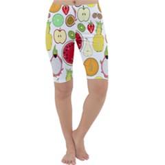 Mango Fruit Pieces Watermelon Dragon Passion Fruit Apple Strawberry Pineapple Melon Cropped Leggings  by Mariart