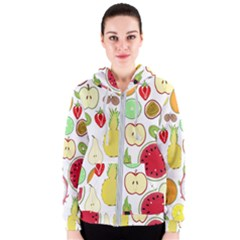 Mango Fruit Pieces Watermelon Dragon Passion Fruit Apple Strawberry Pineapple Melon Women s Zipper Hoodie by Mariart