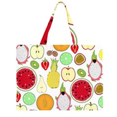Mango Fruit Pieces Watermelon Dragon Passion Fruit Apple Strawberry Pineapple Melon Zipper Large Tote Bag by Mariart