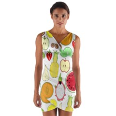 Mango Fruit Pieces Watermelon Dragon Passion Fruit Apple Strawberry Pineapple Melon Wrap Front Bodycon Dress by Mariart
